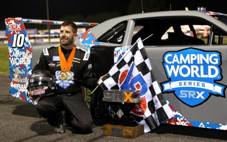 Doug Coby wins first SRX race at Stafford Speedway.